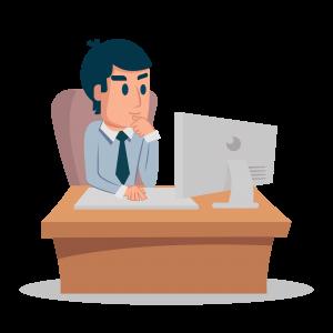 Assistant Outokia en train de rédiger du contenu web devant son ordinateur