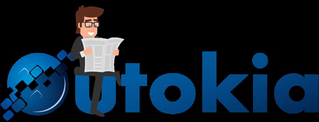 Un client assis sur le logo Outokia en train de lire les actualités avec un journal