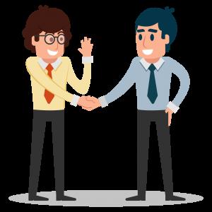 Le responsable et l'assistant Outokia se serrent la main pour travailler ensemble dans la rédaction web pour leurs clients