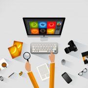 Illustration avec un ordinateur, un clavier et de l'équipement bureautique d'un redacteur web dédié